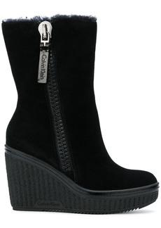 Calvin Klein wedge zip boots
