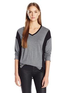 Calvin Klein Jeans Women's 3/4 Sleeve Color Block V-Neck Top