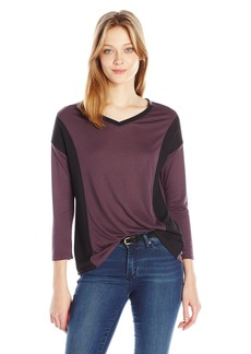 Calvin Klein Jeans Women's 3/4 Sleeve Color Block V-Neck Top