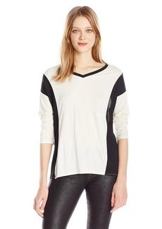 Calvin Klein Jeans Women's 3/4 Sleeve Color Block V-Neck Top  LARGE