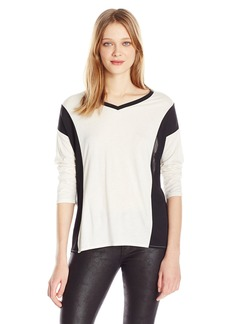 Calvin Klein Jeans Women's 3/4 Sleeve Color Block V-Neck Top  X-LARGE