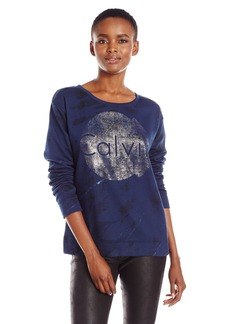 Calvin Klein Jeans Women's Animal Print Logo Sweatshirt  SMALL