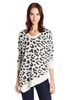 Calvin Klein Jeans Women's Assymetrical Hem Animal Print Sweater  MEDIUM