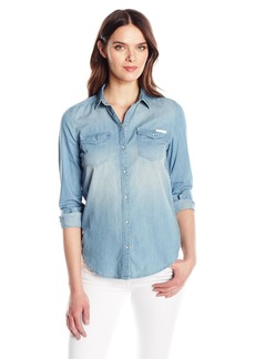 Calvin Klein Women's Long Sleeve Denim Edge Western Button Down Shirt