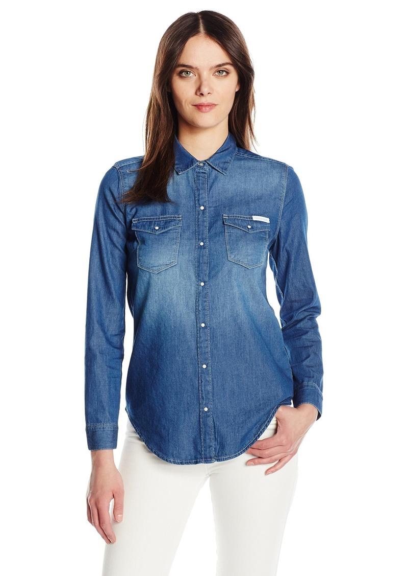cf38426032b7 Calvin Klein Jeans Women s Long Sleeve Denim Edge Western Button Down Shirt
