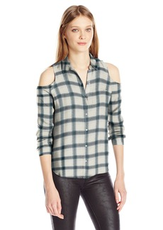 Calvin Klein Jeans Women's Brushed Rayon Cold Shoulder Button Down Shirt