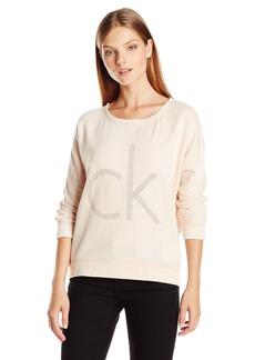 Calvin Klein Jeans Women's Burnout CK Logo Studded Sweatshirt