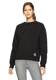 Calvin Klein Jeans Women's Cropped Crew Neck Sweatshirt with Monogram Logo  L