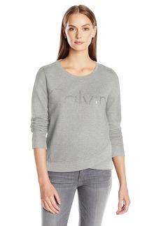 Calvin Klein Jeans Women's Cropped Logo Sweatshirt  LARGE