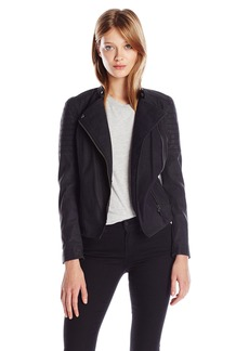 Calvin Klein Jeans Women's Elephant Skin Faux Leather Biker Jacket  MEDIUM