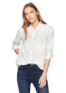 Calvin Klein Jeans Women's Frosted Flannel Button Down Shirt Linear Plaid  L
