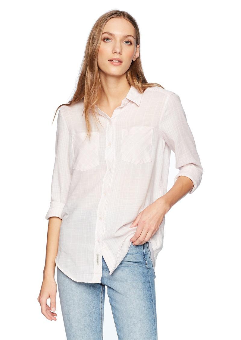 Calvin Klein Jeans Women's Frosted Flannel Button Down Shirt Linear Plaid  XL