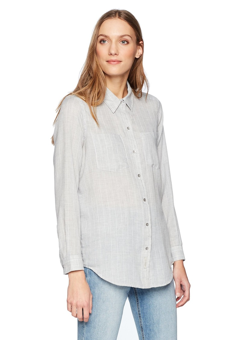 Calvin Klein Jeans Women's Frosted Flannel Button Down Shirt Stripe  L