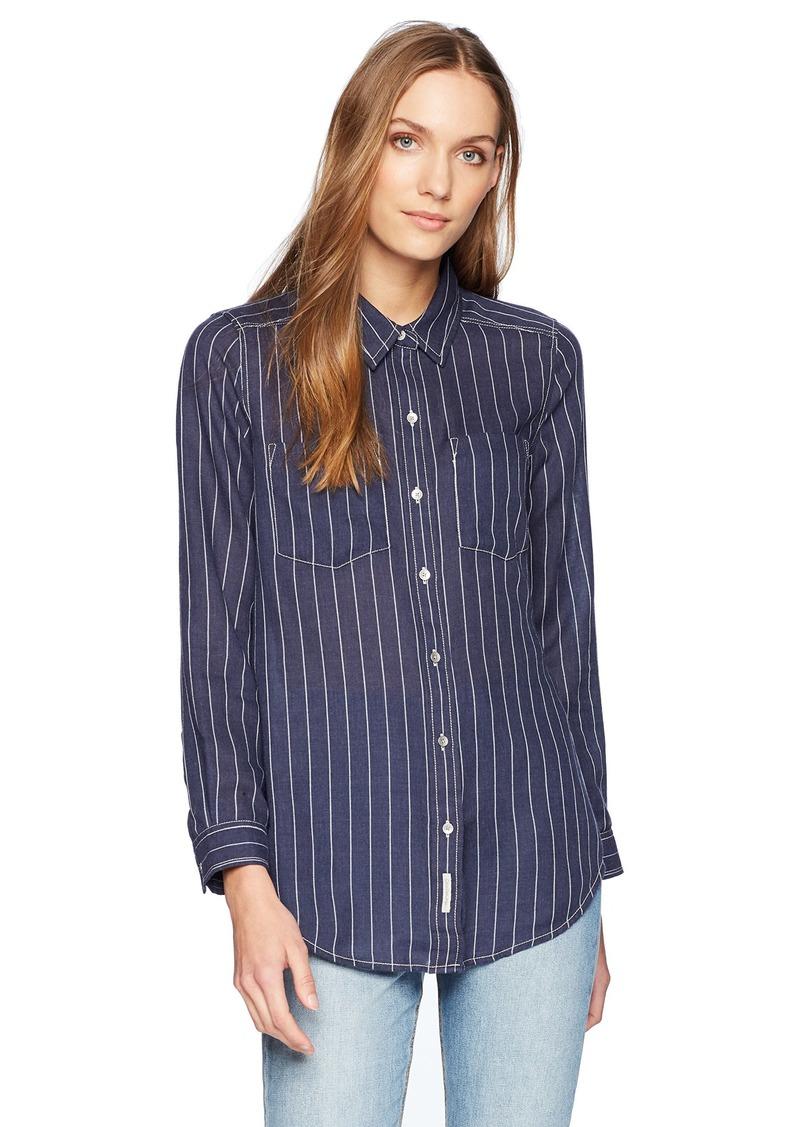 Calvin Klein Jeans Women's Frosted Flannel Button Down Shirt Stripe  XS
