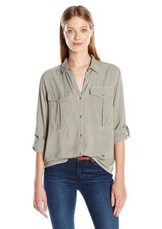 Calvin Klein Jeans Women's Garmet Dye Utility Shirt with D-Rings  SMALL