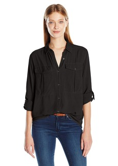 Calvin Klein Jeans Women's Garmet Dye Utility Shirt with D-Rings  X-SMALL