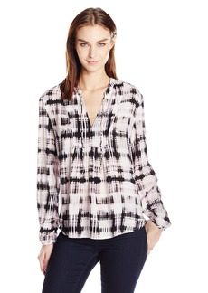 Calvin Klein Jeans Women's Grid Print Bib Peasant Blouse  MEDIUM