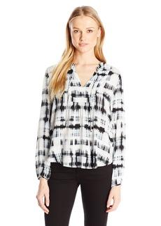 Calvin Klein Jeans Women's Grid Print Bib Peasant Blouse
