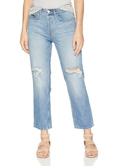 Calvin Klein Jeans Women's HIGH Rise Straight Crop Denim Jean Destructed