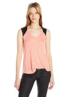 Calvin Klein Jeans Women's Lace Mixed Media Tank Top  LARGE
