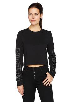 Calvin Klein Jeans Women's Long Sleeve Cropped Calvin Logo Tee  M