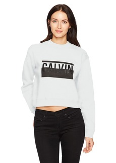 Calvin Klein Jeans Women's Long Sleeve Cropped Mock Neck Calvin Logo Sweatshirt  L