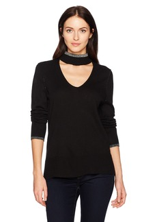 Calvin Klein Jeans Women's Long Sleeve Deep V Choker Neck Sweater