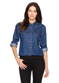 Calvin Klein Jeans Women's Long Sleeve Denim Edge Western Button Down Shirt