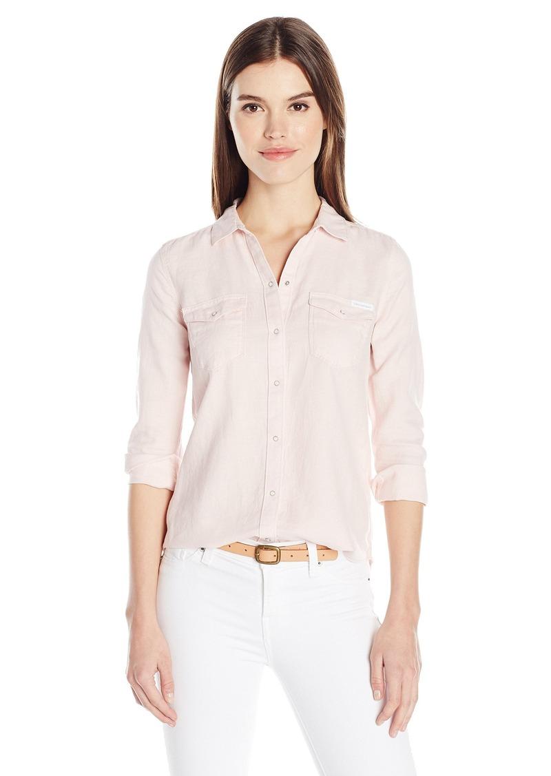 277f6cdde7c Calvin Klein Long Sleeve Denim Edge Western Button Down Shirt ...