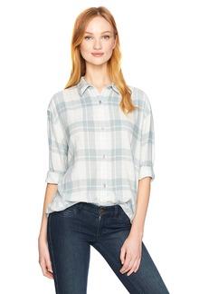 Calvin Klein Jeans Women's Long Sleeve Graphic Shadow Plaid Hi Low Button Down Shirt