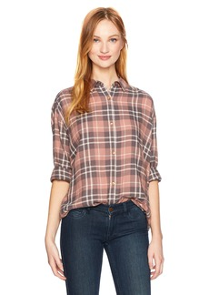 Calvin Klein Jeans Women's Long Sleeve Graphic Shadow Plaid Hi Low Button Down Shirt