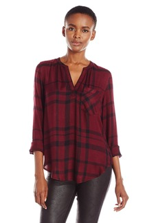 Calvin Klein Jeans Women's Long Sleeve Henley Popover Top  X-SMALL