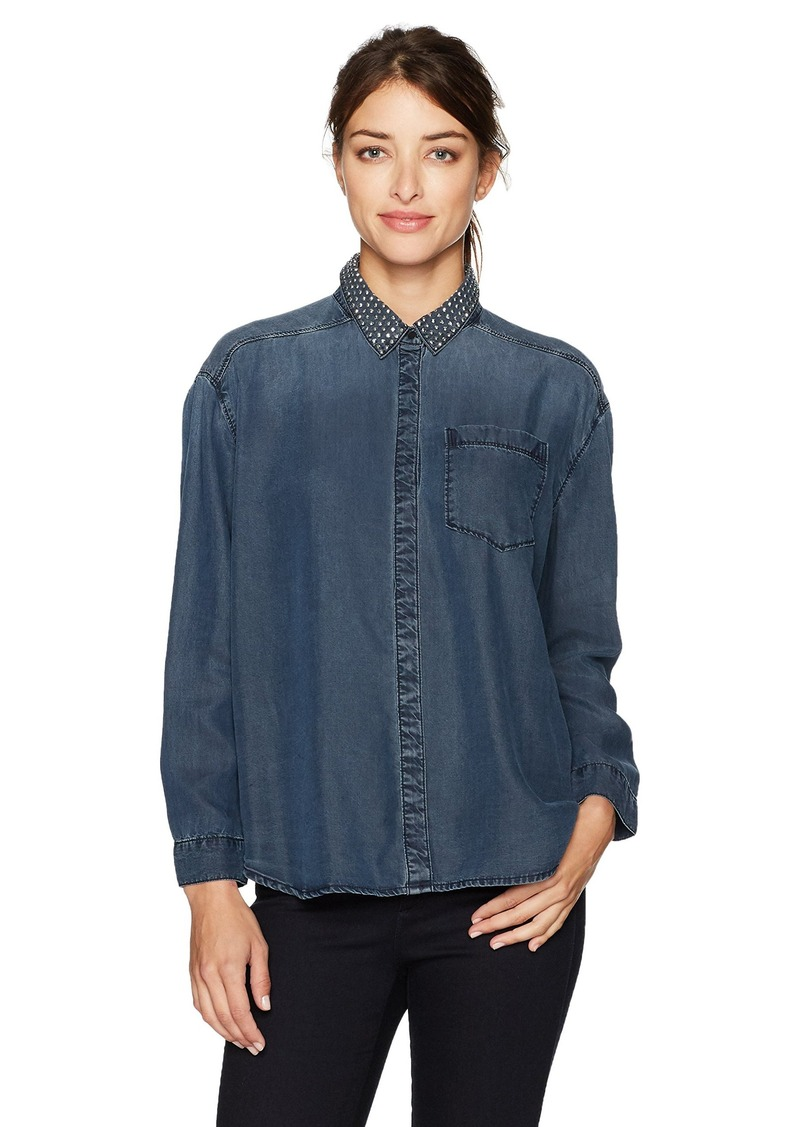 7f939086913 Calvin Klein Jeans Women s Long Sleeve Loose Denim Button Down Shirt With  Stud Collar