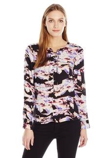 Calvin Klein Jeans Women's Long Sleeve Marble Cloud Printed Popover Blouse  MEDIUM