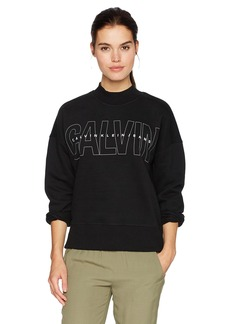 Calvin Klein Jeans Women's Long Sleeve Mock Neck Calvin Logo Sweatshirt  L