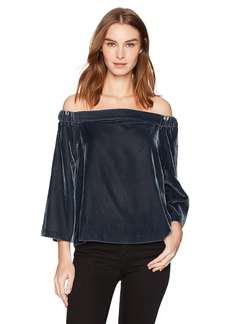 Calvin Klein Jeans Women's Long Sleeve Off The Shoulder Velvet Blouse