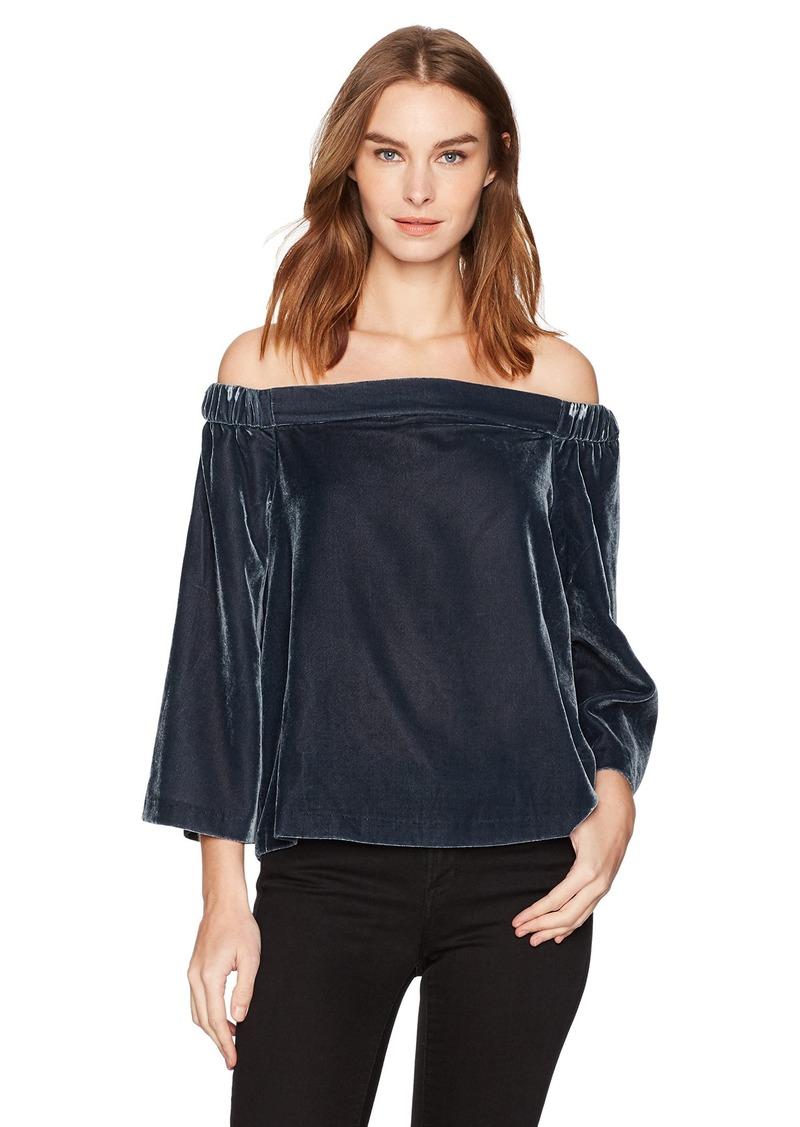 Calvin Klein Jeans Women's Long Sleeve Off The Shoulder Velvet Blouse
