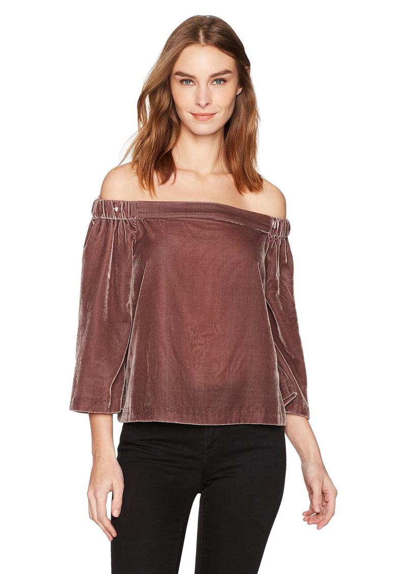 dfe1f1b26c0fd8 Calvin Klein Jeans Women's Long Sleeve Off The Shoulder Velvet Blouse Rose  ash