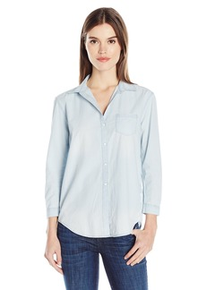 Calvin Klein Jeans Women's Long Sleeve Indigo Poplin Easy Boyfriend Button Down  LARGE