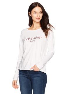 Calvin Klein Jeans Women's Long Sleeve Printed Logo Tee  S