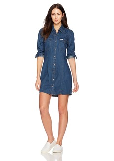 Calvin Klein Jeans Women's Long Sleeve Retro Luxe Indigo Denim Shirt Dress