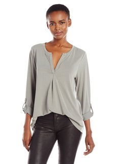 Calvin Klein Jeans Women's Long Sleeve Roll Tab Split Neck Top