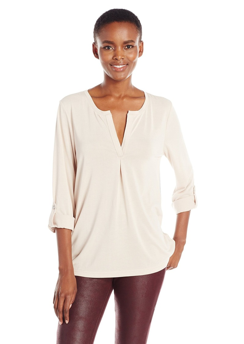 Calvin Klein Jeans Women's Long Sleeve Roll Tab Split Neck Top