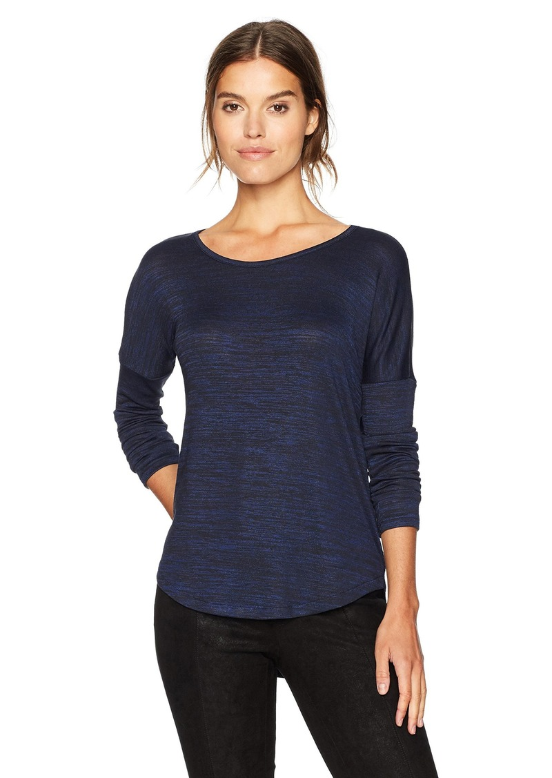 913cf81bd9f Calvin Klein Jeans Women s Long Sleeve Scoop Neck T-Shirt Blue with Black  Heather
