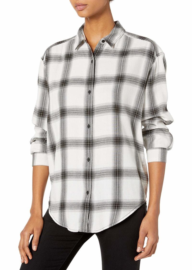 Calvin Klein Jeans Women's Long Sleeve Shadow Plaid Cozy Hi-Low Button Down Shirt