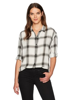 Calvin Klein Jeans Women's Long Sleeve Shadow Plaid Cozy Hi-Low Button Down Shirt