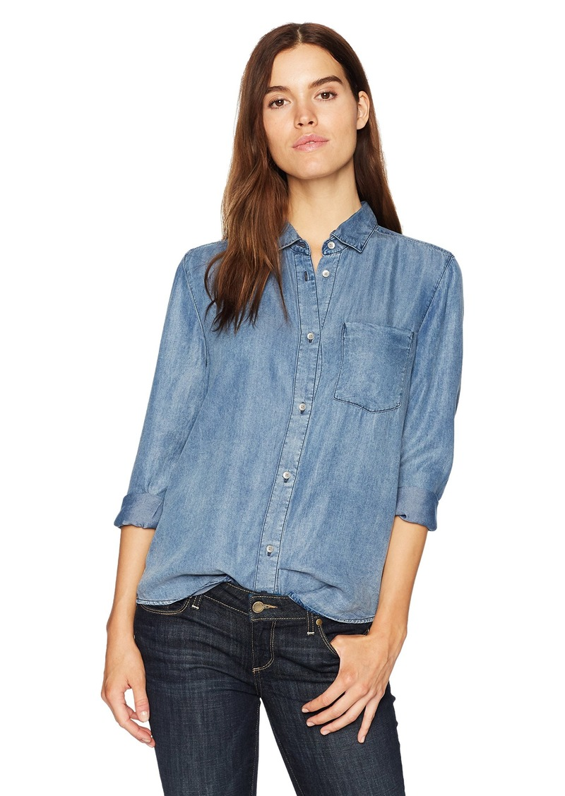 Calvin Klein Jeans Women's Long Sleeve Single Pocket Button Down Shirt