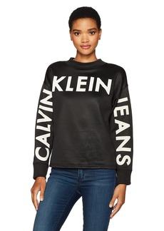 Calvin Klein Jeans Women's Long Sleeve Traveling Logo Crew Neck Sweatshirt