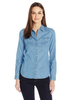 Calvin Klein Jeans Women's Long Sleeve Western Denim Button Down Shirt  MEDIUM
