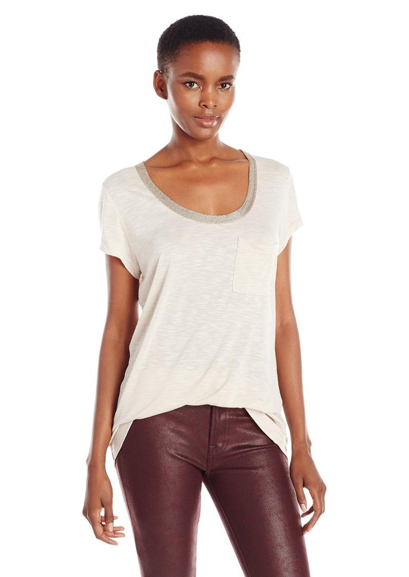 Calvin Klein Jeans Women's Lurex Neck Trim T-Shirt  X-SMALL